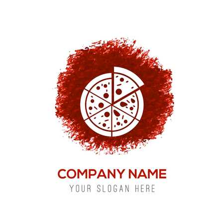 Classic pizza icon - Red WaterColor Circle Splash