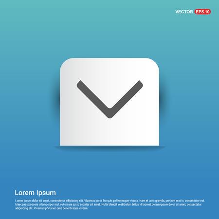 Down Arrow Icon - Blue Sticker button Vectores
