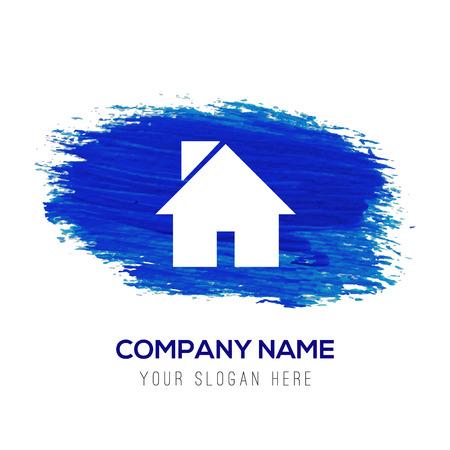 Home icon - Blue watercolor background Ilustración de vector