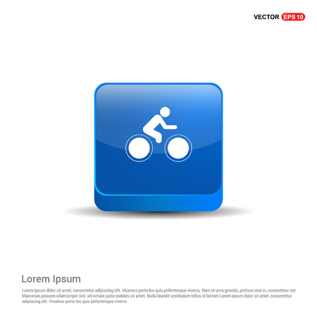 Track Cycling Icon - 3d Blue Button.