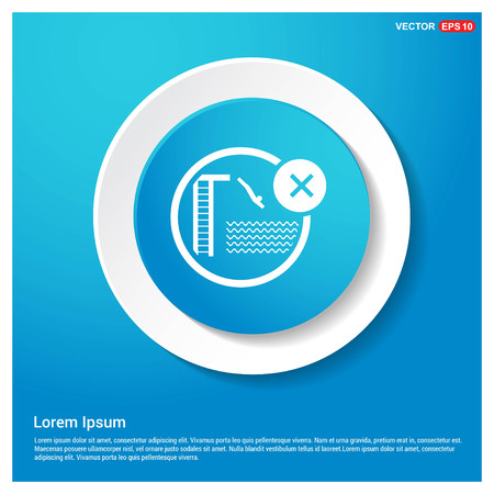 Jumping in Water not Allowed Icon Abstract Blue Web Sticker Button - Free vector icon