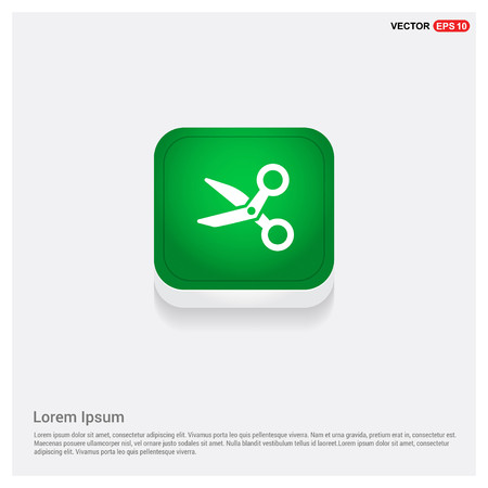 Scissors iconGreen Web Button - Free vector icon