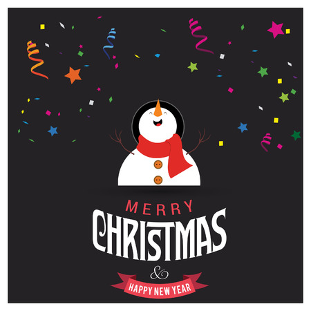 Merry Christmas card design with creative typography and dark background vector