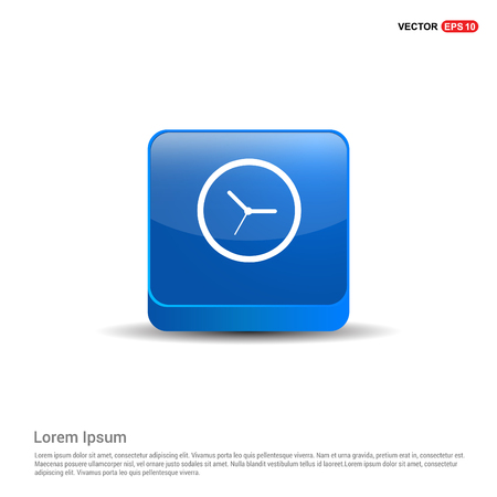 Clock Icon - 3d Blue Button.