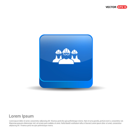 User group icon. - 3d Blue Button.