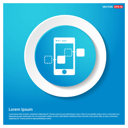 Mobile Share Icon Abstract Blue Web Sticker Button - Free vector icon