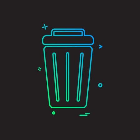 Dustbin icon design vector Vettoriali