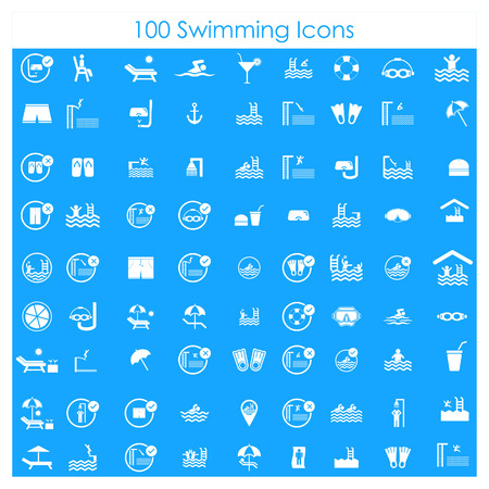Swimming pools icons set vector