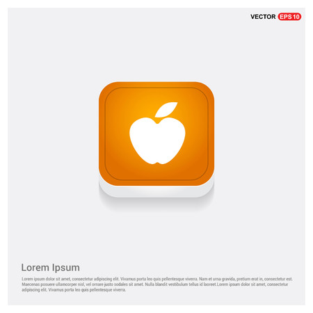 Apple fruit icon Orange Abstract Web Button - Free vector icon Illustration