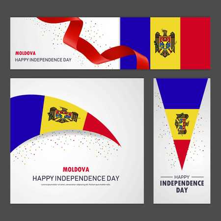 Happy Moldova independence day Banner and Background Set