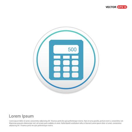 Electronic calculator icon - white circle button Illustration
