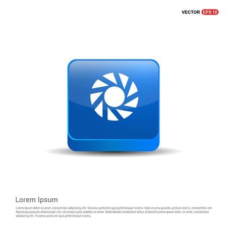 Camera shutter icon - 3d Blue Button.