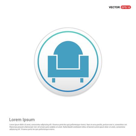 Sofa furniture icon - white circle button