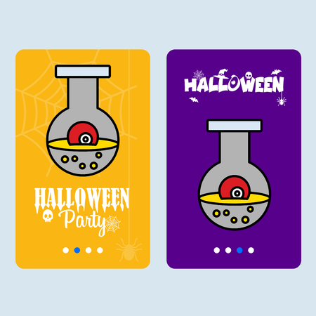Happy Halloween invitation design with eye ball vector