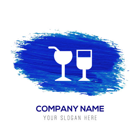 Glass of drink icon - Blue watercolor background Illustration