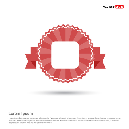 Stop media player button icon - Red Ribbon banner Illustration