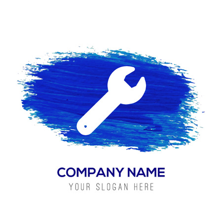 Wrench Icon - Blue watercolor background