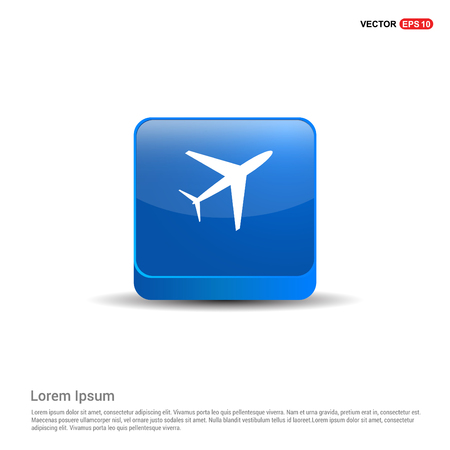 Airplane icon - 3d Blue Button. Illustration