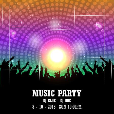 Music party invitation card design vector