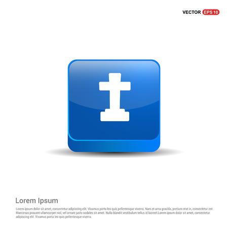 Halloween Grave Cross icon - 3d Blue Button. Vektoros illusztráció