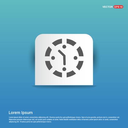 Clock Icon - Blue Sticker button Illustration