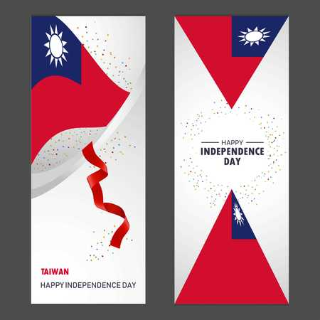 Taiwan Happy independence day Confetti Celebration Background Vertical Banner set Vettoriali