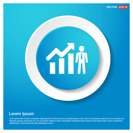 Business Man with Growing graph Icon Abstract Blue Web Sticker Button - Free vector icon Ilustrace