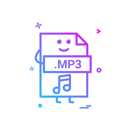 Computer mp3 file format type icon vector design