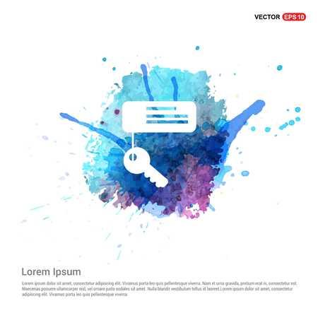 Key Chain Icon - Watercolor Background Vettoriali