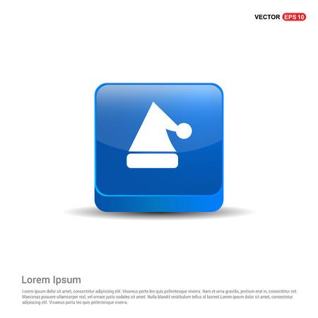 Snowflake flat icon - 3d Blue Button. Ilustração
