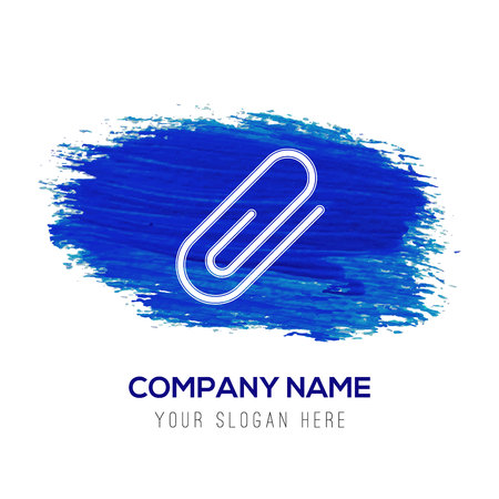 paper clip icon - Blue watercolor background Stock Illustratie