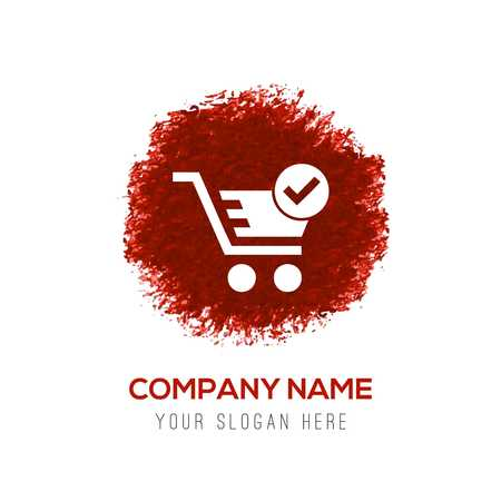 Shopping Cart and plus Sign - Red WaterColor Circle Splash Ilustração