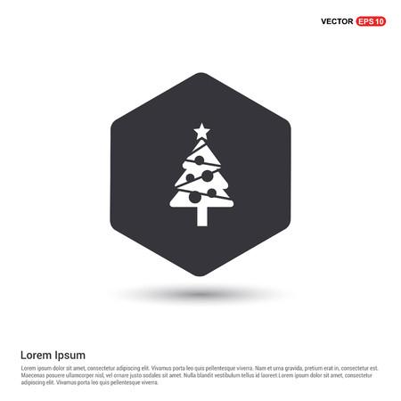 X-Mas Tree Icon Hexa White Background icon template - Free vector icon