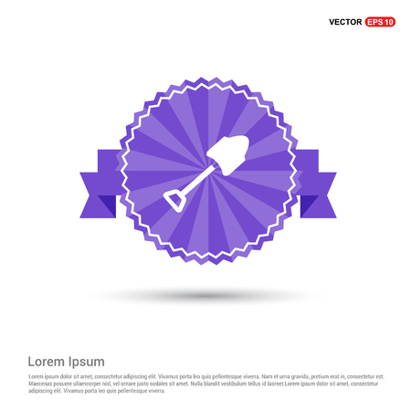 Trowel Icon - Purple Ribbon banner Illustration
