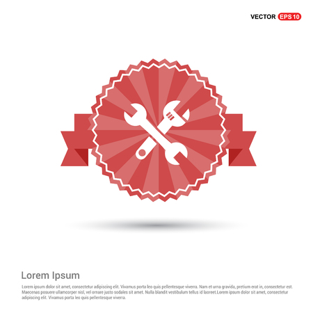 Crossed wrench tools icon - Red Ribbon banner