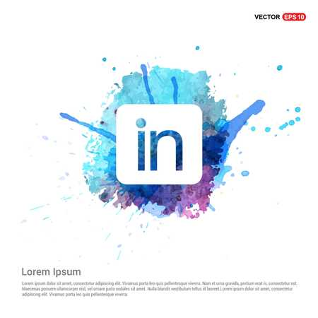 Linked in Icon - Watercolor Background