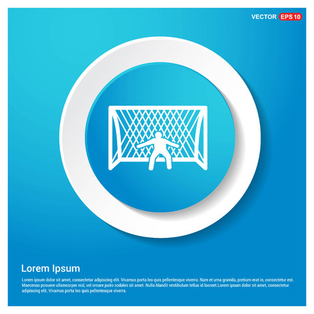 Soccer Goal Icon Abstract Blue Web Sticker Button - Free vector icon