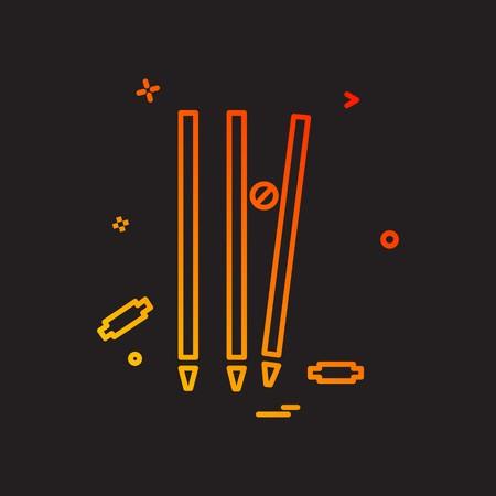 Guichet cricket hors conception vecteur icône boule