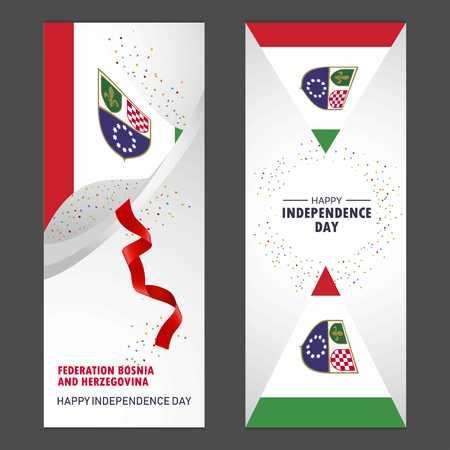 Bosnia and Herzegovina Happy independence day Confetti Celebration Background Vertical Banner set Illustration