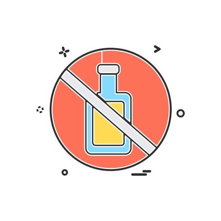 Bottle not allowed icon design vector
