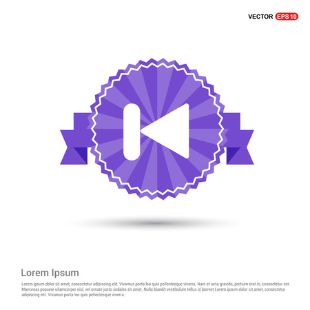Previous media player icon - Purple Ribbon banner Illustration