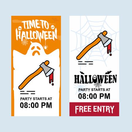 Happy Halloween invitation design with axe vector