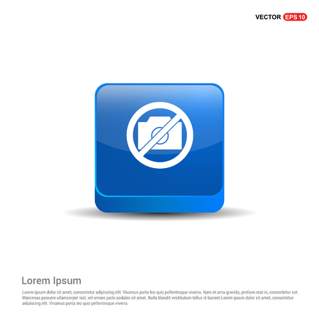 Photo not allowed icon - 3d Blue Button.