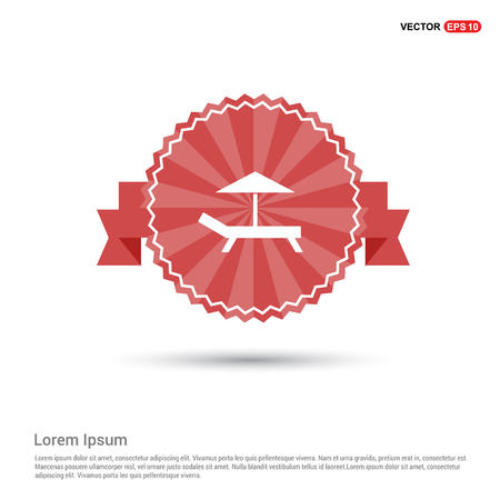 Beach Umbrella and Bed Icon - Red Ribbon banner Vettoriali