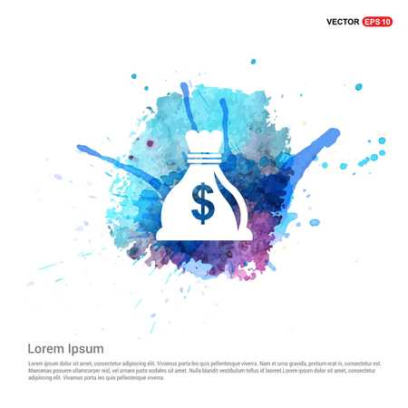 Money Bag icon - Watercolor Background Ilustração
