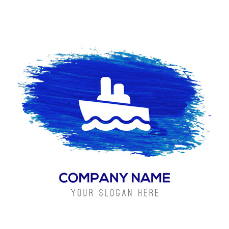 Cruise Icon - Blue watercolor background