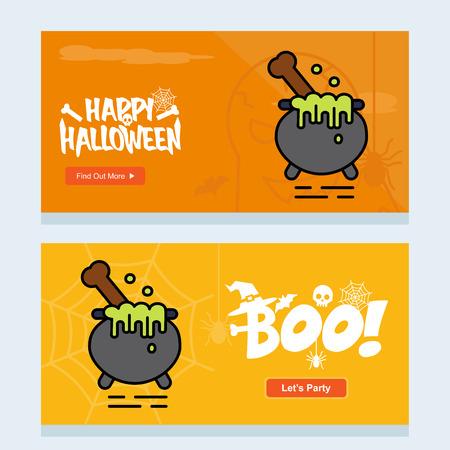 Happy Halloween invitation design with pot vector