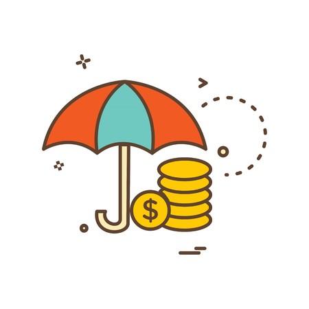 umbrella coins dollar icon vector design