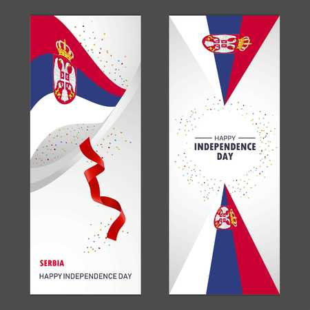 Serbia Happy independence day Confetti Celebration Background Vertical Banner set