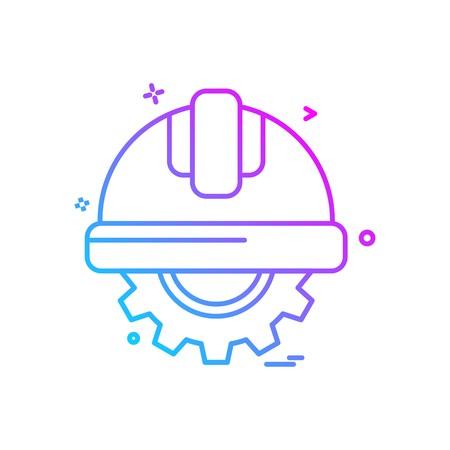 gear halmet  labor icon vector design Stock Vector - 111161841